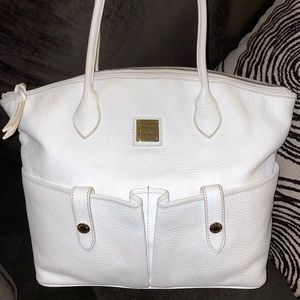 Dooney & Bourke White Crescent Tote Pebble Leather
